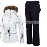 Newest Women cotton snowboard waterproof fabricski wear skiing suit Ski jacket + pants one hat and one glove