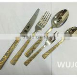 Gold plated 72/84 Pcs stainless steel cutlery set flatware with mirror polish