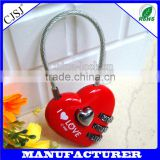 High Quality Mini Heart-shaped Padlock Heart Shape Resettable Combination Cable Lock Luggage Password Lock