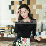 Womens Long Sleeve Scoop Neck Ruffle Front Fitted Blouse Top OEM ODM Type Clothes Quick Ship Factory Manufacturer Guangzhou