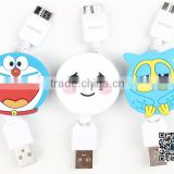 Promotional Double Side Silicone Cartoon flat micro USB data cable for mobile phone, power bank, tablet pc