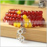 Multi-Strands Natural Red Agate Buddhist Prayer Mala Beads Wrap Necklace Bracelet 925 Sterling Silver Lamb