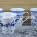 14OZ water-ink paintings design fully decal printed coffee cups, shiny surface new bone china mug, KL5001-A418