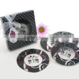 Crystal glass black color printed cup coaster round table glass coaster for decoration