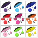 2016 Newly-developped Anti-wet print design Reversed Open easy taken C handle 190T pongee Material Umbrella inverted                                                                         Quality Choice