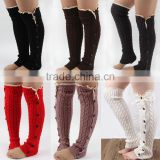 Hot sales Autumn & Winter Button Lace Knitting Warm Socks Leg Warmers Girls Knee High Acrylic Leg Warmer