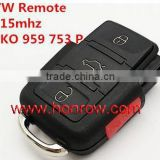 High Quality key programmer vw 3+1 Button remote key key codes number is 1KO 959 753P 315mhz