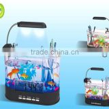LED light USB Mini acrylic Fish Tank with LCD Calendar clock & penholder function and fish tank for sale