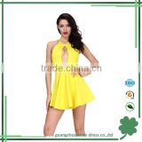 Hot sexy keyhole yellow A-line bandage dress one piece girls party dresses