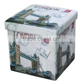 Modern! London Bridge Multi-function Printed PVC Folding Storage Ottoman
