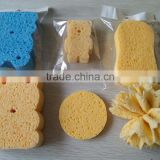 Colourful 100% natural facial cellulous sponges Bear Shape Colorful Bath Sponge Face Body Clean Magic Cellulose Sponge