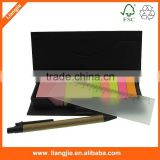 Sticky notes,memo pad with stationery set ballpen and plastic ruler in craft case