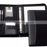 High quality leather file folder with notepad holder,calculator,card pocket/ Customized conference folder/agenda