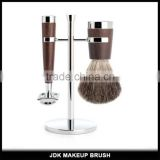Professional Safety Double Edge Blade Shaving Razor Badger hair metal shaving brushes set with stand