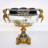 Hand painted European Style Porcelain compote/Planter, Character Design Decorative Ceramic Fruit Bowl With Bronze Base