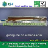 100% eco-friendly biodegradable disposable PLA plastic packaging bags for hotel, toothbrush,soap,comb,etc