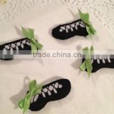 Hot sell Adorable Black Felt Irish Dance Shoes Mini Applique made in China