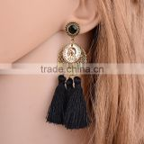 Bohemian jewelry gold coin plated with tassel dangle earrings