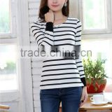 wholesale small to xlarge ladies trendy cotton long sleeve striped t-shirts