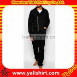 Customized fashion comfortable black 100%cotton dropped crotch long sleeve asymmetric zip adult onesie pajamas
