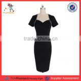 PGWC-3322 Black Short Sleeve Smart Elegant Women Bodycon Dress Cocktail Dress