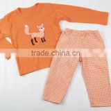 Factory prices are wholesale girl's boutique embroidered fox suit organic cotton baby clothes