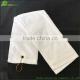 China thickness golf towels cotton golf towel with metal clip golf towel with eyelet and clip