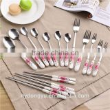 flower porcelain handle stainless steel chopsticks fork spoon tableware/tongy fork knife spoon cultery /fancy dining tableware