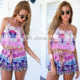 printed beach summer 2017 new jumpsuit shorts sexy ladies jumpsuits ladies chiffon jumpsuits
