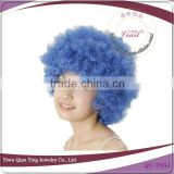 cheap blue yellow small curly afro party wigs