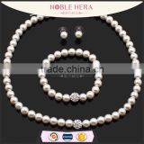 2015 New fashion artificial pearl jewelry set necklace earring and bracelet set                                                                         Quality Choice