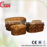 Set of 3 oval wood chip hand woven box