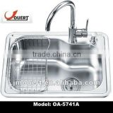 stainless steel sink with plastic sink water trough