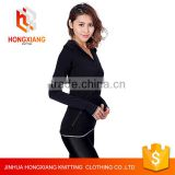 Hongxiang multicolor custom women Black Seamless Sports Coat Slim Yoga Sweatshirts with hooded