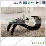 T-203#Glass Top Black ABS Coffee Table