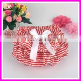 Fashion striped print baby bloomers girls satin diaper cover nappy cover