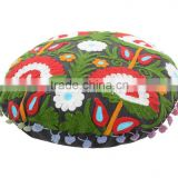 "Indian Suzani Embroidered Floor Cushion Cover Cotton Pillows With Pom Pom Lace Ottoman Poufs 16"" Throw"