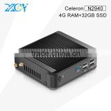 XCY Linux Custom Computers Celeron Quad-core X30 N2940 Mini TV Box PC 4G RAM 32G SSD Windows7 Black Smaller case Office USing