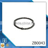 High quality cz diamond micro pave jewelry black onyx elastic beaded bracelet