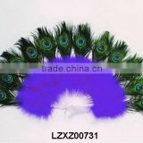 royal blue dance marabou feather fans with peacock tips LZXZ00731