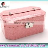 protable pink leather jewelry storage/package box layered box with handle/buckle