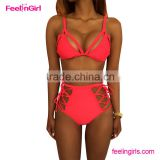 2016 High waist mature women red bikini swimwear                                                                         Quality Choice