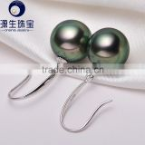 real black tahitian 9-10mm pearl earrings gold simple design for wholesale