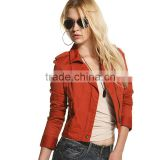 Women's Ladies Cotton Twill Bomber Jacket Vintage Zip Up Biker Slim Coat Short Motorcycle Outerwear OEM Factory