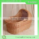 SMALL BABY DOLL WICKER CRADLE BASSINETTE CARRIER WITH HANDLES & HOOD