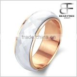 Fashion Jewelry Rose Gold Plated White Ceramic Ring for Men and Women