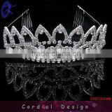 Tall Big Large Pageant Crystal Round Tiara Crown