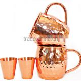 100% Set of 2 Pure Copper Beer Mug with Copper Shot Glass, 100% Authentic Hammered