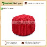 Highly Demanded Bold Colour Knitted Pouf Available from Best Selling Company