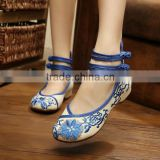 Women Chinese Vintage Old Peking Walking Cloth Shoes Buckle Flower Embroidery Comfortable Sole Ladies Casual Flats Zapatos Mujer